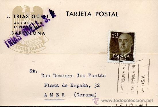 TARJETA POSTAL J TRIAS GUELL BARCELONA (Sellos - España - Tarjetas)