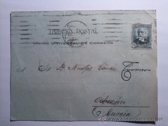TARJETA POSTAL FERROCARRILES MADRID A ZARAGOZA Y A ALICANTE. MZA 1932 (Sellos - España - Tarjetas)