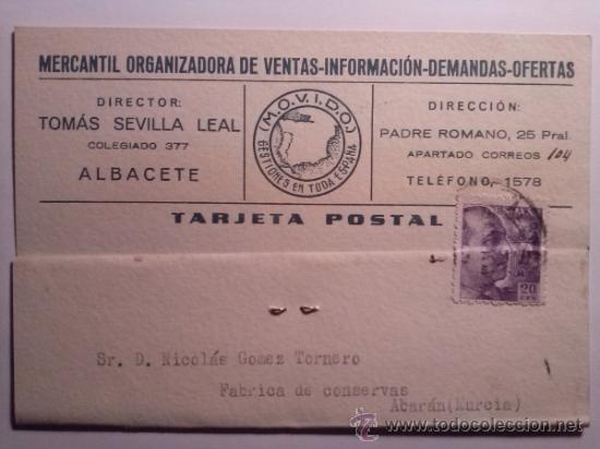 TARJETA POSTAL MERCANTIL ORGANIZADORA DE VENTAS. ALBACETE 1941 (Sellos - España - Tarjetas)