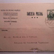 Sellos: TARJETA POSTAL VIUDA DE PEDRO MUÑOZ ALMACEN DE COLONIALES. OCAÑA TOLEDO 1936. Lote 34691072