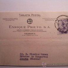 Sellos: TARJETA POSTAL ENRIQUE PRIETO ALMACEN ULTRAMARINOS Y FABRICA DE CHOCOLATES. SALAMANCA 1941. Lote 34691093