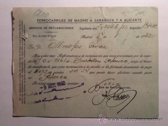 Sellos: TARJETA POSTAL FERROCARRILES MADRID A ZARAGOZA Y A ALICANTE. MZA 1932 - Foto 2 - 34690817