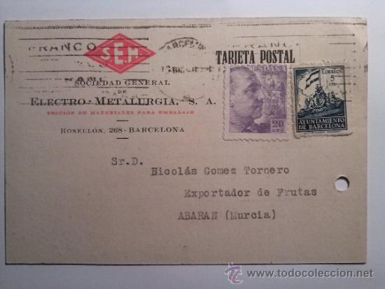 TARJETA POSTAL SOCIEDAD GENERAL DE ELECTRO-METALURGIA BARCELONA 1940 (Sellos - España - Tarjetas)