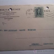 Sellos: TARJETA POSTAL DORDA Y MARTINEZ. CARTAGENA MURCIA 1926. Lote 34702946