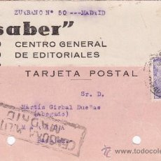 Sellos: TARJETA POSTAL MARTÍN GIRBAL DUEÑAS CENSURA MILITAR 1939 MERIDA. Lote 34887946