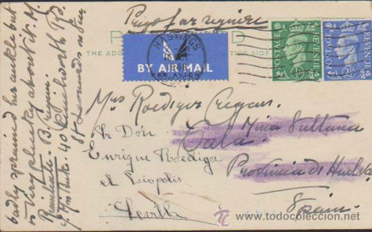 TARJETA ENTERO POSTAL INGLESA. DE HASTINGS A CALA (HUELVA) DEL 15 OCT. 1948. (Sellos - Extranjero - Tarjetas)