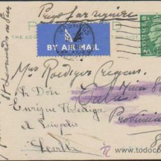 Sellos: TARJETA ENTERO POSTAL INGLESA. DE HASTINGS A CALA (HUELVA) DEL 15 OCT. 1948.. Lote 35393122