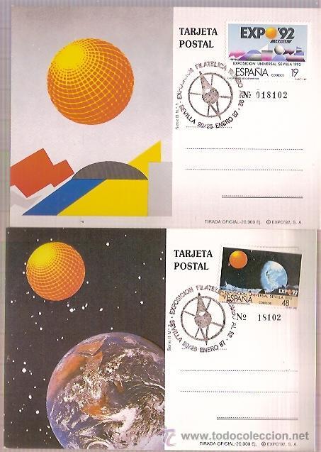 2 TARJETAS POSTALES EXPO 92 SEVILLA MATASELLOS EDIFIL 2875 Y 2876 (Sellos - Extranjero - Tarjetas)