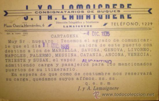 TARJETA POSTAL LAMAIGNERE CONSIGNATARIOS DE BUQUES. CARTAGENA. MURCIA 1935 (Sellos - Extranjero - Tarjetas)