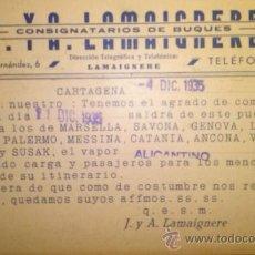 Sellos: TARJETA POSTAL LAMAIGNERE CONSIGNATARIOS DE BUQUES. CARTAGENA. MURCIA 1935. Lote 35845935