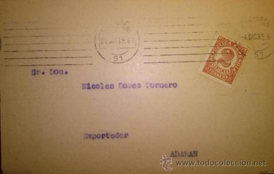 Sellos: TARJETA POSTAL LAMAIGNERE CONSIGNATARIOS DE BUQUES. CARTAGENA. MURCIA 1935 - Foto 2 - 35845935