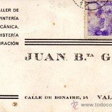 Sellos: TARJETA POSTAL JUAN B.TA GEA VALENCIA TALLER DE CARPNTERIA . Lote 35873542