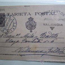 Sellos: TARJETA POSTAL CON SELLO 10CTS COLOR MARRON ALFONSO XIII, ESTAMPADO VALENCIA 23-03-1902. Lote 36019588