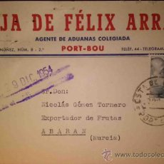 Sellos: TARJETA POSTAL DE HIJA DE FELIX ARRAS PORT-BOU 1954. Lote 36078545