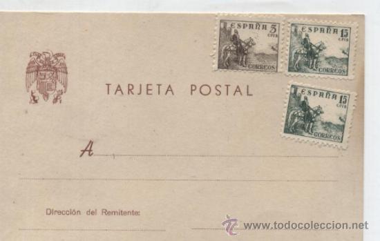 TARJETA POSTAL. FRANQUEADA CON 1 SELLO DE 5 Y 2 DE 15 CTS. (Sellos - Extranjero - Tarjetas)