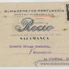 Sellos: TARJETA POSTAL DE ALMACENES DE PERFUMERIA RECIO, SALAMANCA. CIRCULADA. Lote 36562930