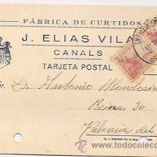Sellos: CANALS (VALENCIA): ANTIGUA TARJETA POSTAL PUBLICITARIA. Lote 36756198