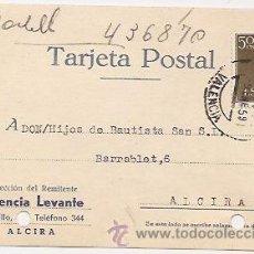 Sellos: TARJETA POSTAL. ALCIRA (VALENCIA). Lote 37018538
