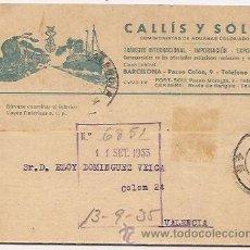 Sellos: CALLÍS Y SOLER. TARJETA COMERCIAL. BARCELONA. Lote 37018628