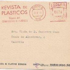 Selos: PLÁSTICOS. TARJETA CON FRANQUEO MECÁNICO. Lote 37018721