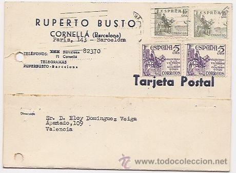 CORNELLA. BARCELONA. TARJETA COMERCIAL (Sellos - España - Tarjetas)