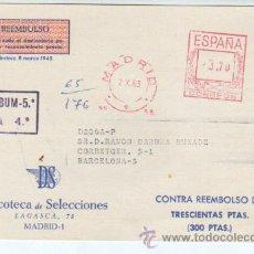 Sellos: TARJE DE REMBOLSO - DISCOTECA DE SELECIIONES DE MADRID 1963. Lote 37392980