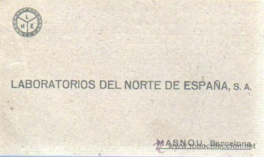 TARJETA DE LABORATORIOS DEL NORTE DE ESPAÑA SA MASNOU BARCELONA 1943 (Sellos - España - Tarjetas)
