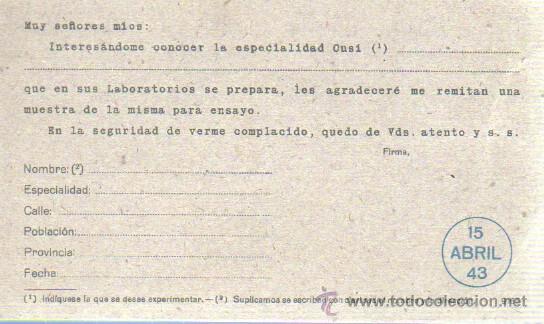 Sellos: TARJETA DE LABORATORIOS DEL NORTE DE ESPAÑA SA MASNOU BARCELONA 1943 - Foto 2 - 37393092