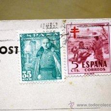 Sellos: TARJETA POSTAL. LIBRERIA CLARETIANA, BARCELONA - VALENCIA 1952. SELLO DE 35 Y 5 CENTIMOS . Lote 37361357