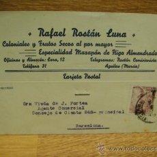 Sellos: TARJETA POSTAL RAFAEL RASTAN - COLONIALES - AGUILAS - MURCIA. Lote 37387962