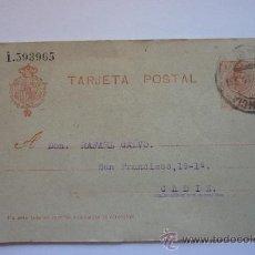 Sellos: TARJETA ENTERO POSTAL CIRCULADA. MUY ANTIGUA. VALENCIA 1 DE ABRIL DE 1919. ALFONSO XIII 10 CÉNTIMOS. Lote 37507251