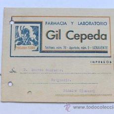 Sellos: TARJETA PUBLICIDAD / FARMACIA Y LABORATORIO / GIL CEPEDA / BENAVENTE / ZAMORA / AÑOS 50. Lote 37669407
