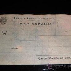 Sellos: POSTAL PATRIOTICA - REMITENTE DE LA CARCEL MODELO DE VALENCIA. Lote 37927441