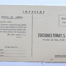 Sellos: TARJETA PEDIDO LIBRERIA / EDICIONES TORAY / PEDIDO RECORTABLES AL DORSO. Lote 37948493