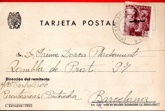 TARJETA POSTAL PUENTEAREAS PONTEARIAS PONTEVEDRA (Sellos - España - Tarjetas)