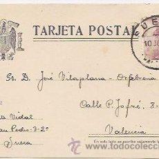 Sellos: SUECA (VALENCIA): TARJETA CIRCULADA EN 1946. Lote 38611084