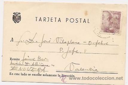 TARJETA POSTAL CIRCULADA DESDE ENGUERA (VALENCIA). 1946 (Sellos - España - Tarjetas)