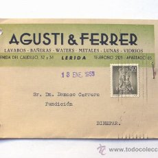 Sellos: TARJETA COMERCIAL / AGUSTI - FERRER / LLEIDA 1955 / EDIFIL 1136. Lote 38701992