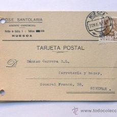 Sellos: TARJETA COMERCIAL / JOSE SANTOLARIA - AGENTE COMERCIAL / HUESCA 1957 / PUBLICIDAD. Lote 38702427