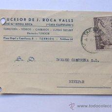 Sellos: TARJETA COMERCIAL / CORREO AEREO EDIFIL 943 / CASA CLAVETAIRE -RIPOLL ROCA / TARREGA 1957. Lote 38702503