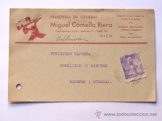 TARJETA COMERCIAL / MIGUEL COMELLA RIERA -CARBURO DE BERGA / VICH 1941 / PUBLICIDAD (Sellos - España - Otros - Tarjetas)