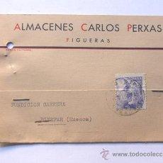 Sellos: TARJETA COMERCIAL / ALMACENES CARLOS PERXAS / FIGUERAS AÑO 1942 / GIRONA. Lote 38703015