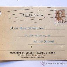 Sellos: TARJETA COMERCIAL / INDUSTRIA DE COLORES JOAQUIN J. GIRALT / AÑO 1955. Lote 38703175