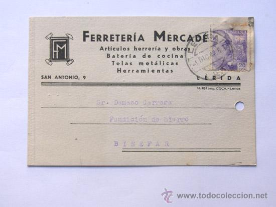 TARJETA COMERCIAL / FERRETERIA MERCADE / LLEIDA AÑO 1942 (Sellos - España - Tarjetas)