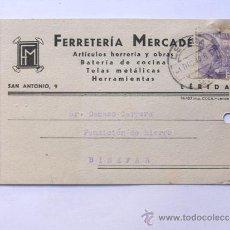 Sellos: TARJETA COMERCIAL / FERRETERIA MERCADE / LLEIDA AÑO 1942. Lote 38703220
