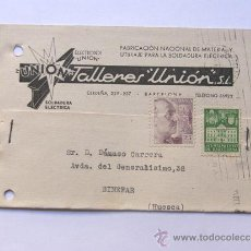 Sellos: TARJETA COMERCIAL / TALLERES UNION -AÑO 1942 / SELLO AYTO.BARCELONA 5 CTS.. Lote 38703364