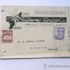 Sellos: TARJETA COMERCIAL / TALLERES UNION -AÑO 1942 / SELLO AYTO.BARCELONA 5 CTS.. Lote 38703377