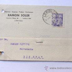 Sellos: TARJETA COMERCIAL / RAMON SOLER - HIERROS Y ACEROS / LLEIDA AÑO 1942. Lote 38703471