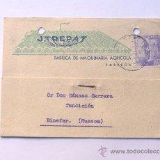 Sellos: TARJETA COMERCIAL / JOSE TREPAT GALCERAN / TARREGA AÑO 1942 / LLEIDA. Lote 38703510