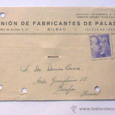 Sellos: TARJETA COMERCIAL / UNION DE FABRICANTES DE PALAS / BILBAO 1942. Lote 38703608